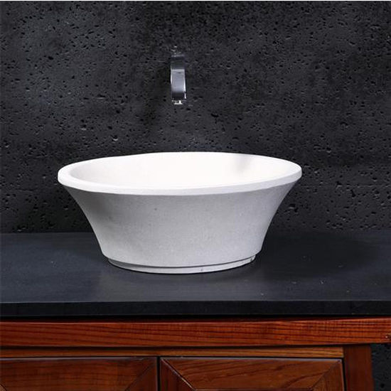 Virtu Zeus Vessel Bathroom Sink in White Sand Marble