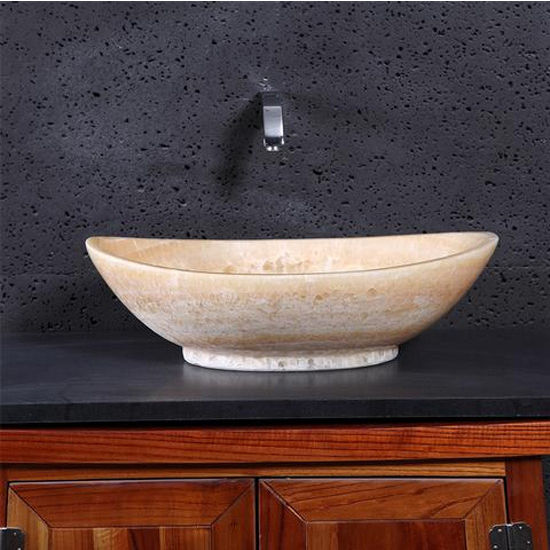 Virtu Phoenix Vessel Bathroom Sink in Honey Onyx Marble