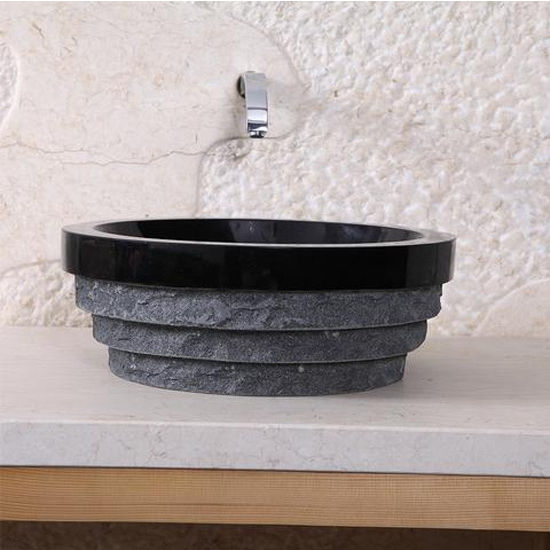 Virtu Pallas Vessel Bathroom Sink in Shanxi Black Granite