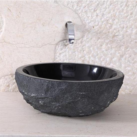 Virtu Adonia Vessel Bathroom Sink in Shanxi Black Granite