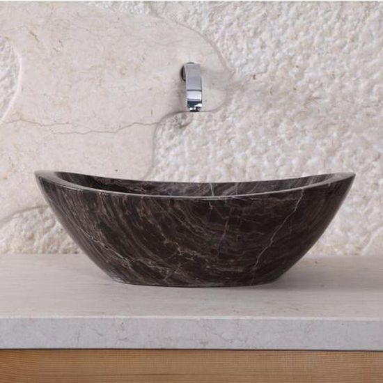 Virtu Doris Vessel Bathroom Sink in Coffee Marble