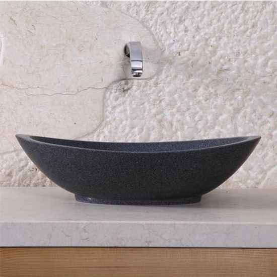 Virtu Bia Vessel Bathroom Sink in Dark Grey Granite Granite
