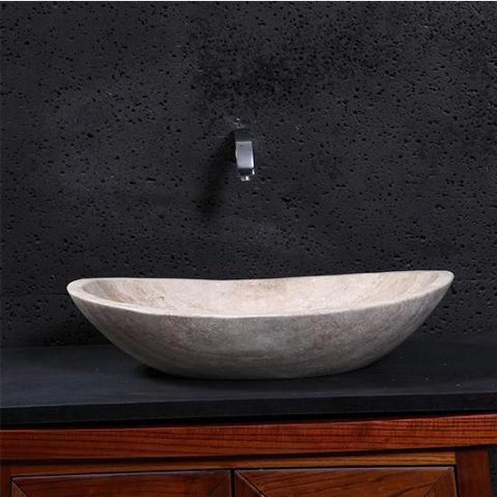 Leda Vessel Bathroom Sink In Beige Travertine Marble With