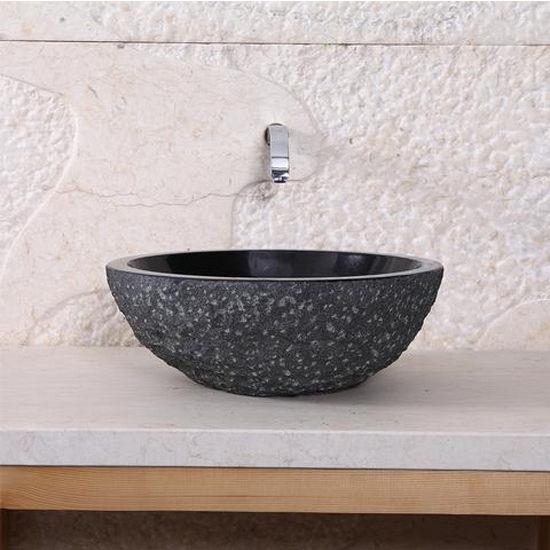 Virtu Melia Vessel Bathroom Sink in Shanxi Black Granite