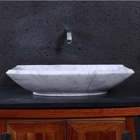 Virtu Kirke Vessel Bathroom Sink in Bianco Carrara Marble