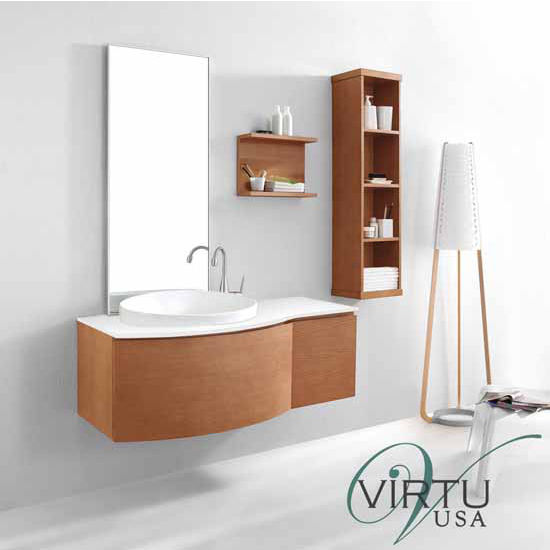 """Virtu 48"""" Isabelle Single Sink Bathroom Vanity Set in Chestnut with Artificial White Stone (Includes Cabinet, Sink, & Mirror)"""
