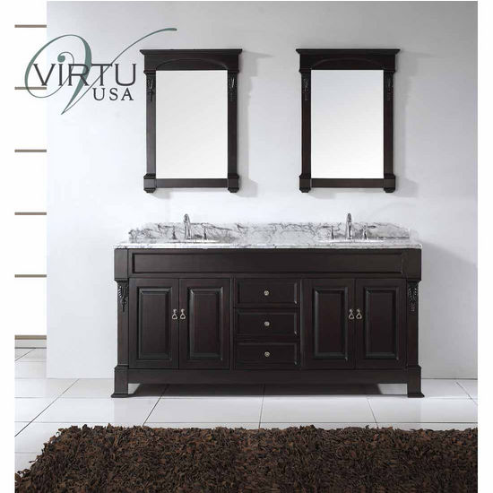 "Virtu 72"" Huntshire Double Round Sinks Bathroom Vanity in Dark Walnut with Italian Carrara White Marble (Includes Cabinet, Sink, & Mirror)"