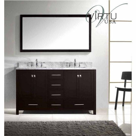 60 Caroline Avenue Double Sink Bathroom Vanity By Virtu Usa Made With Zero Emissions Solid Oak