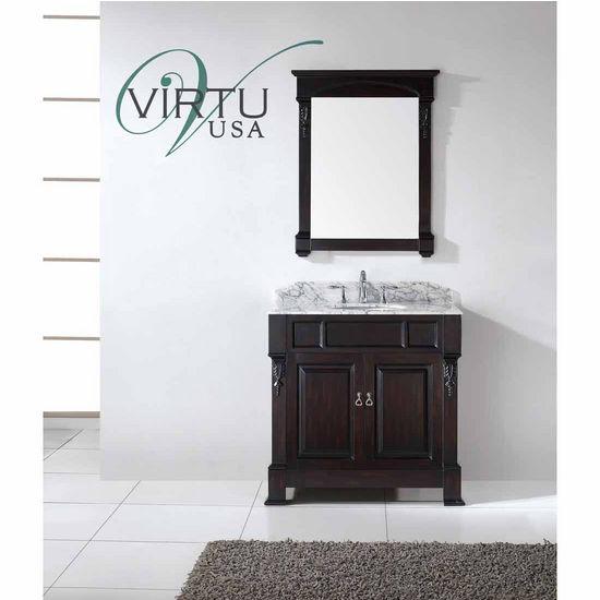 "Virtu 36"" Huntshire Single Round Sink Bathroom Vanity in Dark Walnut with Italian Carrara White Marble (Includes Cabinet, Sink, & Mirror)"