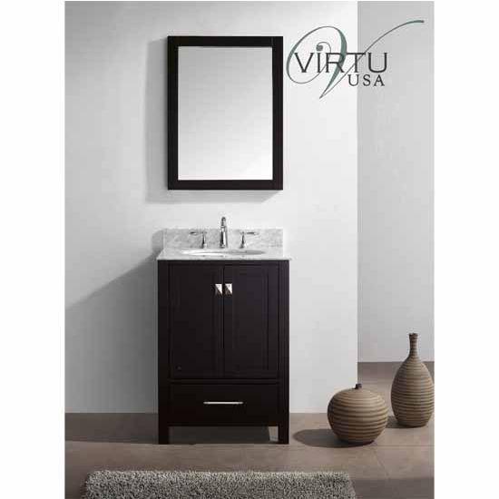 "Virtu 24"" Caroline Avenue Single Round Sink Bathroom Vanity in Espresso with Italian Carrara White Marble (Includes Cabinet, Sink, & Mirror)"