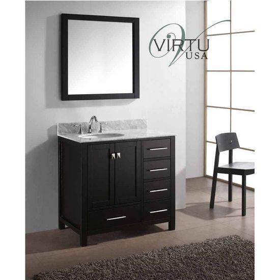 "Virtu 36"" Caroline Avenue Single Round Sink Bathroom Vanity in Espresso with Italian Carrara White Marble (Includes Cabinet, Sink, & Mirror)"