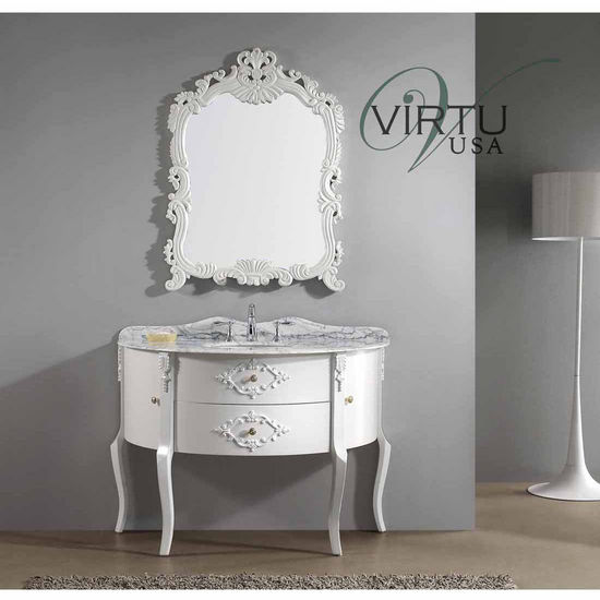 "Virtu 48"" Abigail Single Sink Bathroom Vanity in White with Italian Carrara White Marble (Includes Cabinet, Sink, & Mirror)"