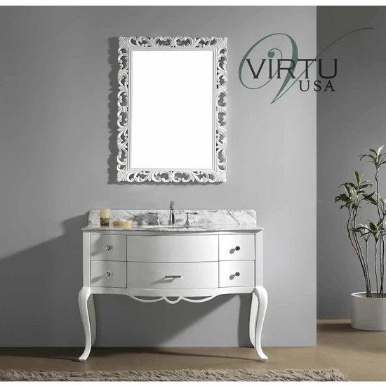 "Virtu 48"" Charlotte Single Sink Bathroom Vanity in White with Italian Carrara White Marble (Includes Cabinet, Sink, & Mirror)"