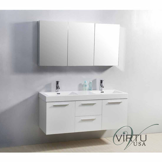 """Virtu 54"""" Midori Double Sink Bathroom Vanity in Gloss White with Polymarble (Includes Cabinet, Sink, & Faucet)"""