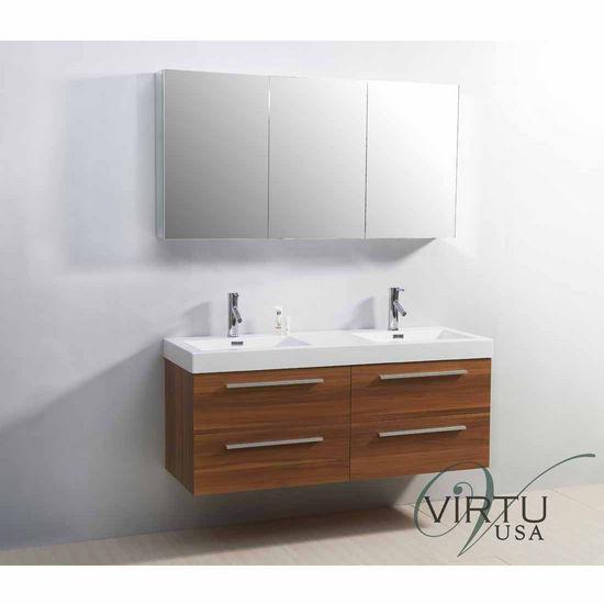 "Virtu 54"" Finley Double Sink Bathroom Vanity in Plum with Polymarble (Includes Cabinet, Sink, & Faucet)"