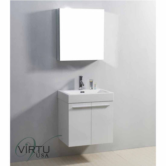 """Virtu 24"""" Midori Single Sink Bathroom Vanity in Gloss White with Polymarble (Includes Cabinet, Sink, Mirror, & Faucet)"""