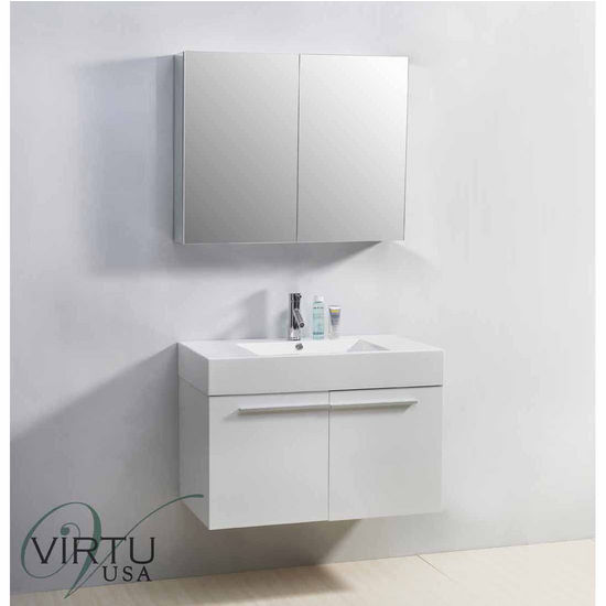 "Virtu 36"" Midori Single Sink Bathroom Vanity in Gloss White with Polymarble (Includes Cabinet, Sink, Mirror, & Faucet)"