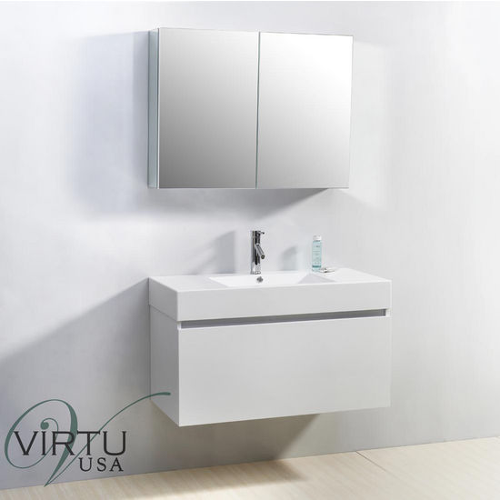 "Virtu 39"" Zuri Single Sink Bathroom Vanity in Gloss White with Polymarble (Includes Cabinet, Sink, Mirror, & Faucet)"