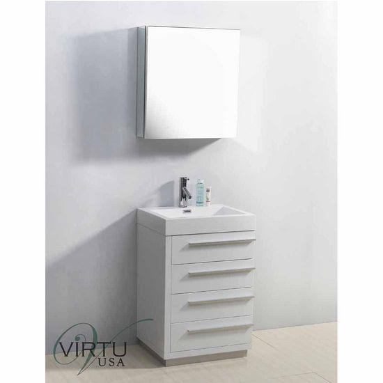 """Virtu 24"""" Bailey Single Sink Bathroom Vanity in Gloss White with Polymarble (Includes Cabinet, Sink, Mirror, & Faucet)"""