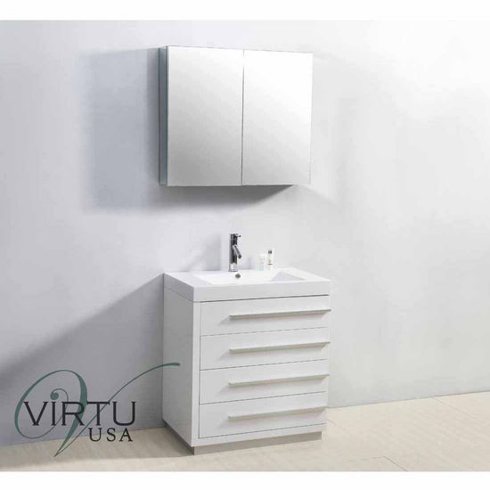 """Virtu 30"""" Bailey Single Sink Bathroom Vanity in Gloss White with Polymarble (Includes Cabinet, Sink, Mirror, & Faucet)"""