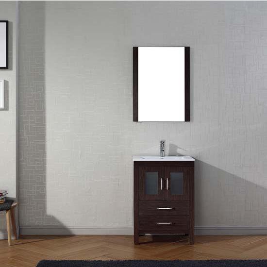 Virtu USA 24'' Dior Single Sink Bathroom Vanity Set, Espresso with Ceramic Countertop, Integrated Sink, Polished Chrome Faucet