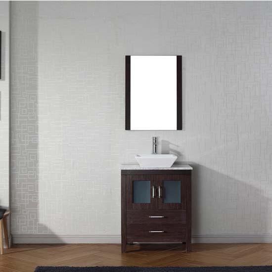 Virtu USA 24'' Dior Single Sink Bathroom Vanity Set, Espresso with Italian Carrara Marble Countertop, Polished Chrome Faucet