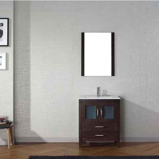 Virtu USA 28'' Dior Single Sink Bathroom Vanity Set, Espresso with Ceramic Countertop, Integrated Sink, Polished Chrome Faucet