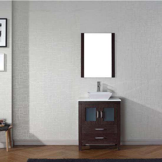 Virtu USA 28'' Dior Single Sink Bathroom Vanity Set, Espresso with Pure White Marble Countertop, Polished Chrome Faucet