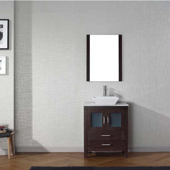 Virtu USA 28'' Dior Single Sink Bathroom Vanity Set, Espresso with Italian Carrara Marble Countertop, Polished Chrome Faucet