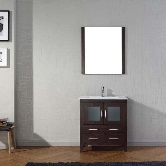 Virtu USA 30'' Dior Single Sink Bathroom Vanity Set, Espresso with Ceramic Countertop, Integrated Sink, Polished Chrome Faucet