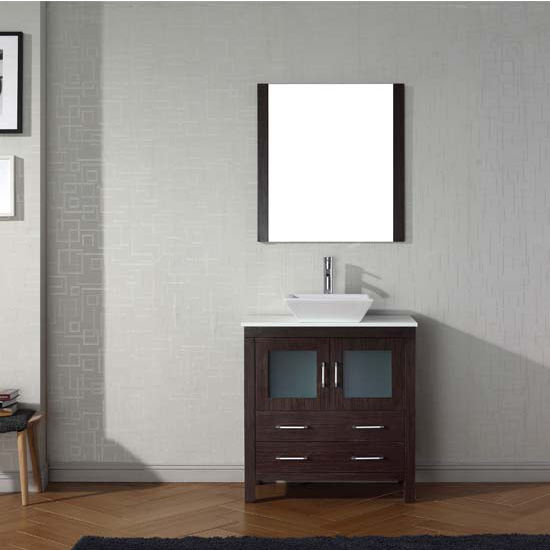 Virtu USA 32'' Dior Single Sink Bathroom Vanity Set, Espresso with Pure White Marble Countertop, Polished Chrome Faucet
