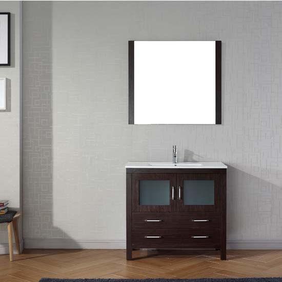 Virtu USA 36'' Dior Single Sink Bathroom Vanity Set, Espresso with Ceramic Countertop, Integrated Sink, Polished Chrome Faucet