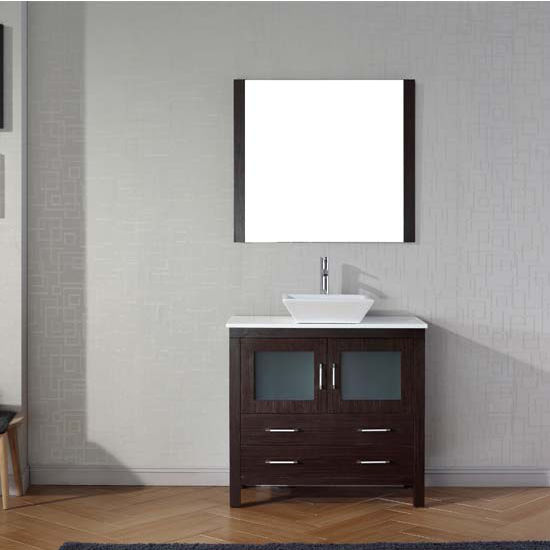 Virtu USA 36'' Dior Single Sink Bathroom Vanity Set, Espresso with Pure White Marble Countertop, Polished Chrome Faucet