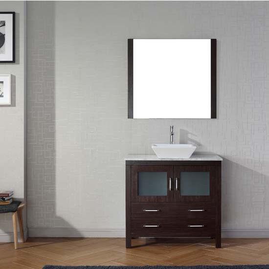 Virtu USA 36'' Dior Single Sink Bathroom Vanity Set, Espresso with Italian Carrara Marble Countertop, Polished Chrome Faucet