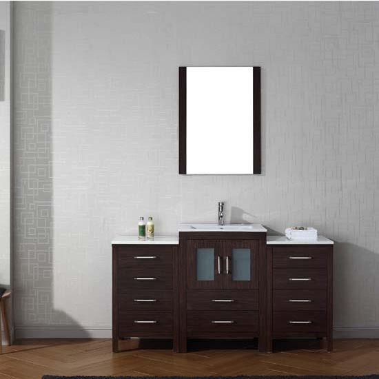 Virtu USA 60'' Dior Single Sink Bathroom Vanity Set, Espresso with Ceramic Countertop, Integrated Sink, Polished Chrome Faucet