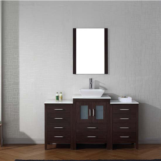 Virtu USA 60'' Dior Single Sink Bathroom Vanity Set, Espresso with Pure White Marble Countertop, Polished Chrome Faucet