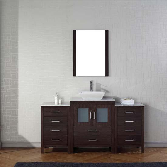 Virtu USA 60'' Dior Single Sink Bathroom Vanity Set, Espresso with Italian Carrara Marble Countertop, Polished Chrome Faucet