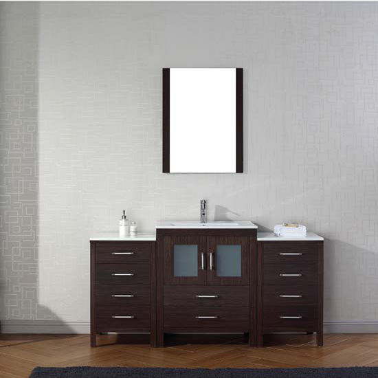 Virtu USA 64'' Dior Single Sink Bathroom Vanity Set, Espresso with Ceramic Countertop, Integrated Sink, Polished Chrome Faucet