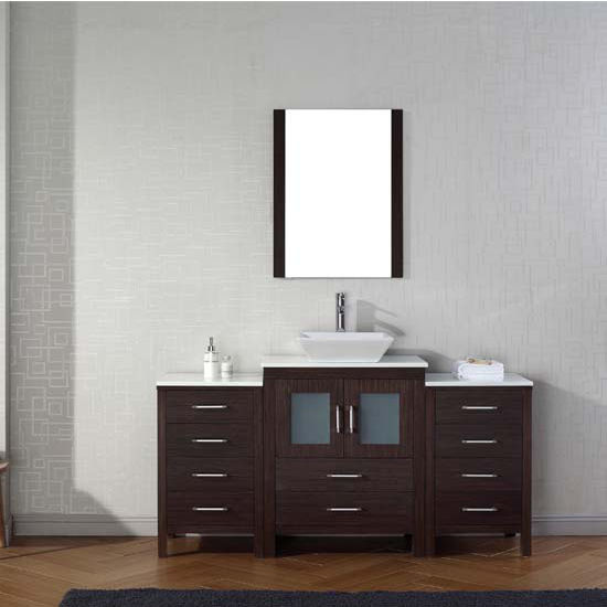 Virtu USA 64'' Dior Single Sink Bathroom Vanity Set, Espresso with Pure White Marble Countertop, Polished Chrome Faucet