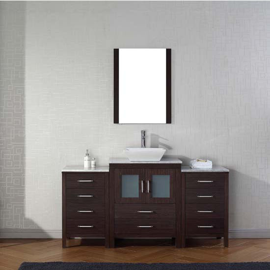 Virtu USA 64'' Dior Single Sink Bathroom Vanity Set, Espresso with Italian Carrara Marble Countertop, Polished Chrome Faucet