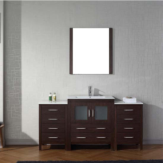 Virtu USA 66'' Dior Single Sink Bathroom Vanity Set, Espresso with Ceramic Countertop, Integrated Sink, Polished Chrome Faucet