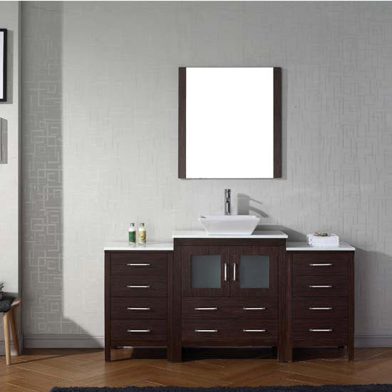 Virtu USA 66'' Dior Single Sink Bathroom Vanity Set, Espresso with Pure White Marble Countertop, Polished Chrome Faucet