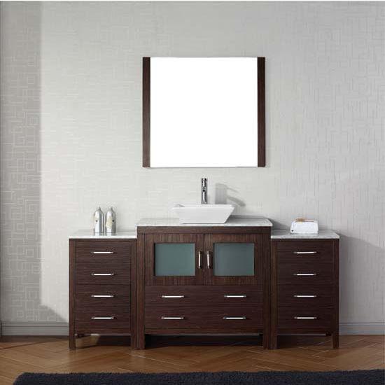 Virtu USA 66'' Dior Single Sink Bathroom Vanity Set, Espresso with Italian Carrara Marble Countertop, Polished Chrome Faucet