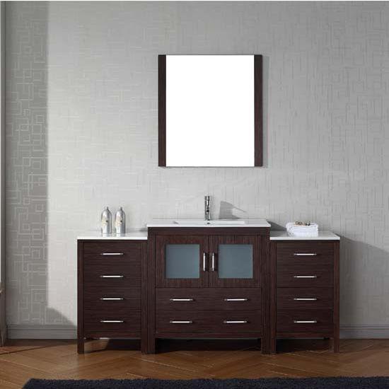 Virtu USA 68'' Dior Single Sink Bathroom Vanity Set, Espresso with Ceramic Countertop, Integrated Sink, Polished Chrome Faucet