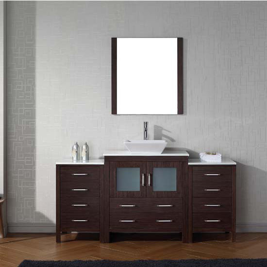 Virtu USA 68'' Dior Single Sink Bathroom Vanity Set, Espresso with Pure White Marble Countertop, Polished Chrome Faucet