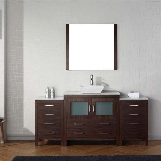 Virtu USA 68'' Dior Single Sink Bathroom Vanity Set, Espresso with Italian Carrara Marble Countertop, Polished Chrome Faucet