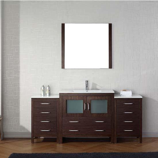 Virtu USA 72'' Dior Single Sink Bathroom Vanity Set, Espresso with Ceramic Countertop, Integrated Sink, Polished Chrome Faucet