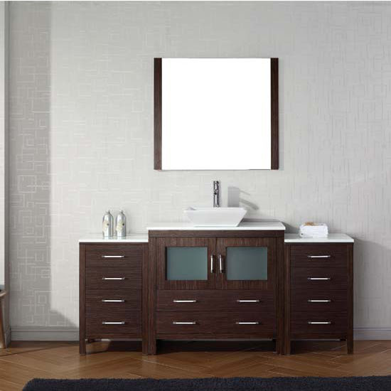 Virtu USA 72'' Dior Single Sink Bathroom Vanity Set, Espresso with Pure White Marble Countertop, Polished Chrome Faucet