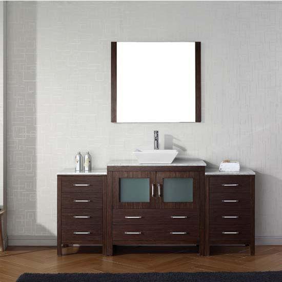 Virtu USA 72'' Dior Single Sink Bathroom Vanity Set, Espresso with Italian Carrara Marble Countertop, Polished Chrome Faucet