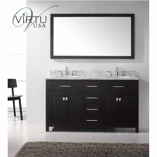 "Virtu 60"" Caroline Double Round Sinks Bathroom Vanity in Espresso with Italian Carrara White Marble (Includes Cabinet, Sink, & Mirror)"